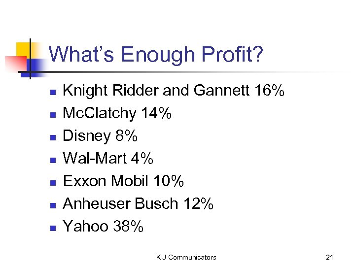 What's Enough Profit? n n n n Knight Ridder and Gannett 16% Mc. Clatchy