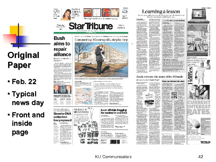Original Paper • Feb. 22 • Typical news day • Front and inside page