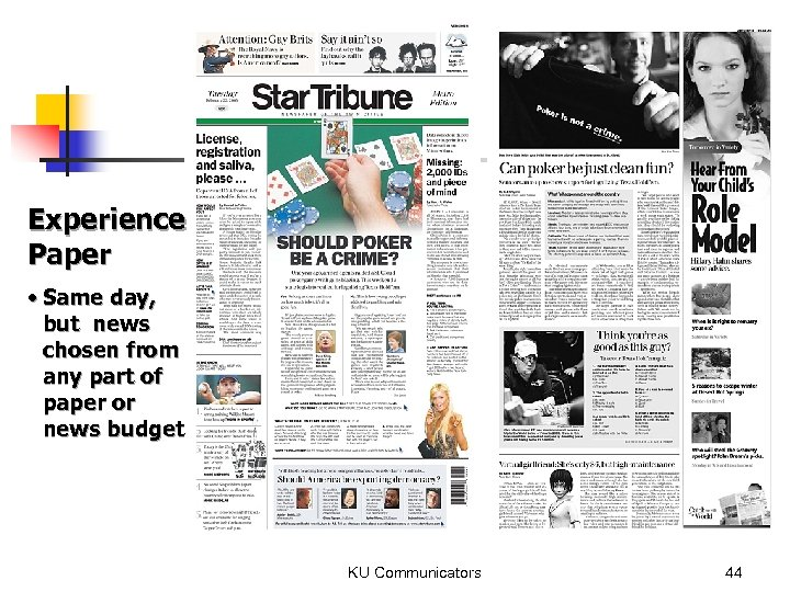 Experience Paper • Same day, but news chosen from any part of paper or