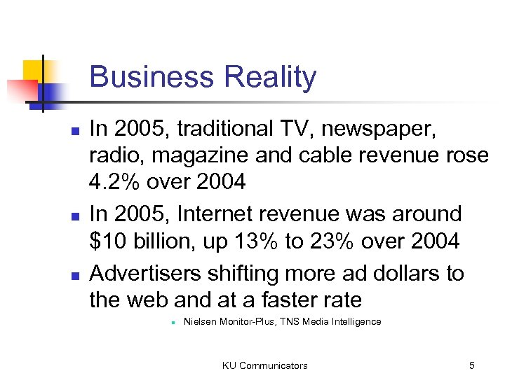 Business Reality n n n In 2005, traditional TV, newspaper, radio, magazine and cable