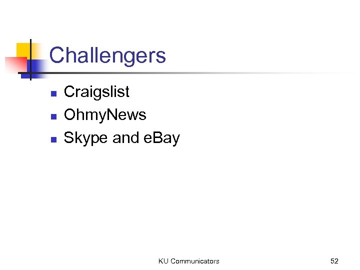 Challengers n n n Craigslist Ohmy. News Skype and e. Bay KU Communicators 52