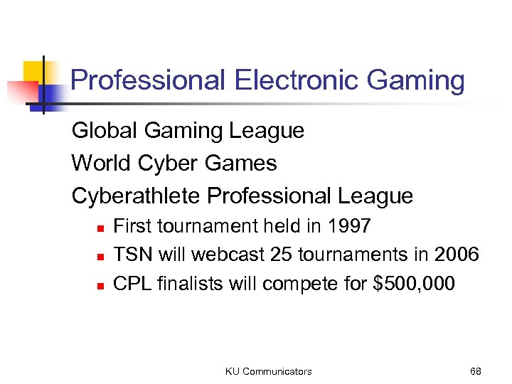 Professional Electronic Gaming Global Gaming League World Cyber Games Cyberathlete Professional League n n