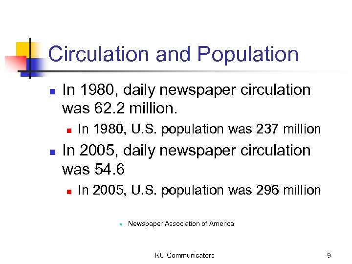 Circulation and Population n In 1980, daily newspaper circulation was 62. 2 million. n