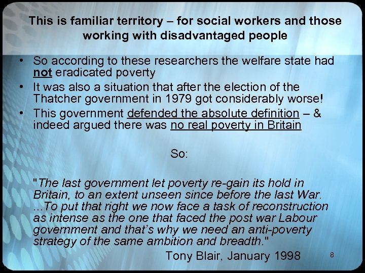 This is familiar territory – for social workers and those working with disadvantaged people