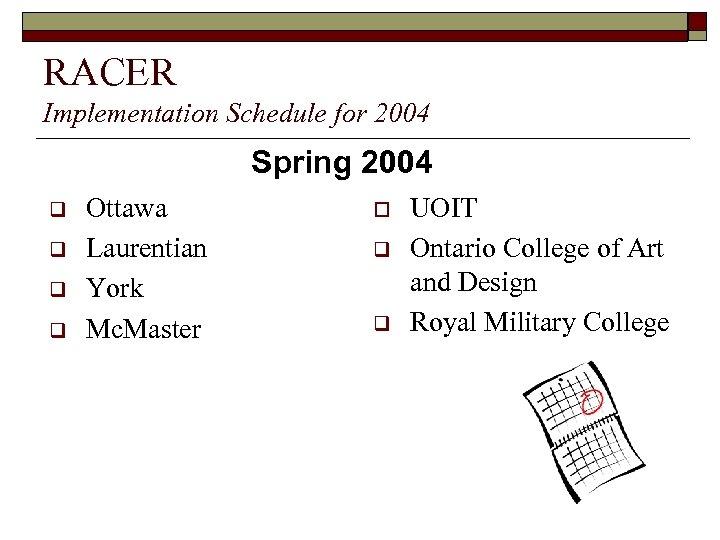 RACER Implementation Schedule for 2004 Spring 2004 q q Ottawa Laurentian York Mc. Master