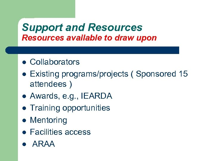 Support and Resources available to draw upon l l l l Collaborators Existing programs/projects