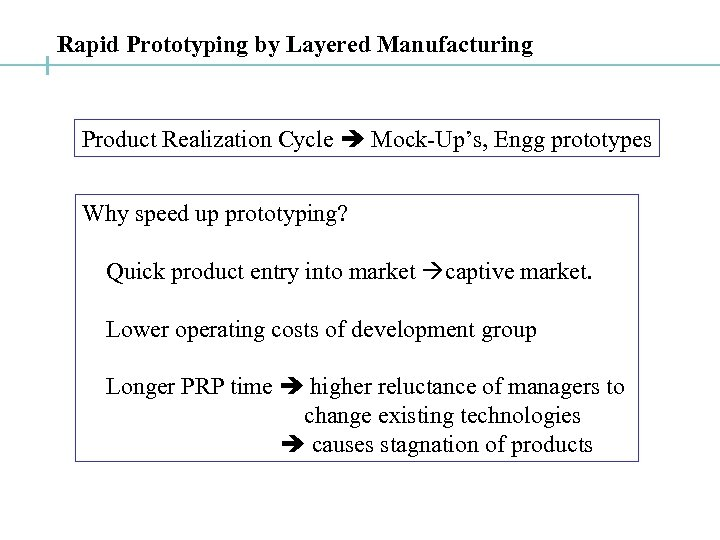 Rapid Prototyping by Layered Manufacturing Product Realization Cycle Mock-Up's, Engg prototypes Why speed up