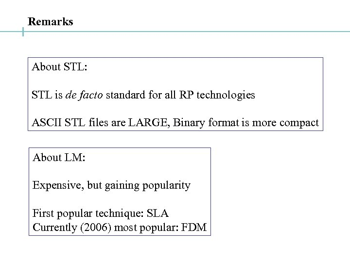 Remarks About STL: STL is de facto standard for all RP technologies ASCII STL