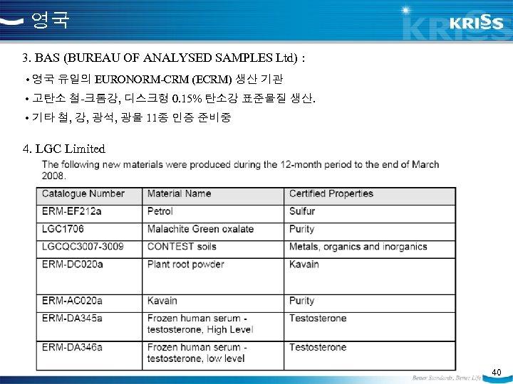 영국 3. BAS (BUREAU OF ANALYSED SAMPLES Ltd) : • 영국 유일의 EURONORM-CRM (ECRM)