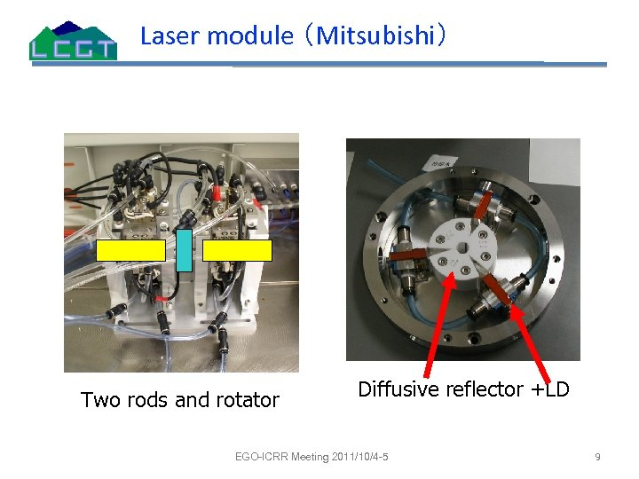Laser module (Mitsubishi) Two rods and rotator Diffusive reflector +LD EGO-ICRR Meeting 2011/10/4 -5