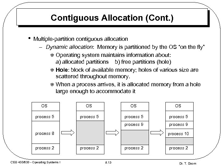 Contiguous Allocation (Cont. ) • Multiple-partition contiguous allocation – Dynamic allocation: Memory is partitioned