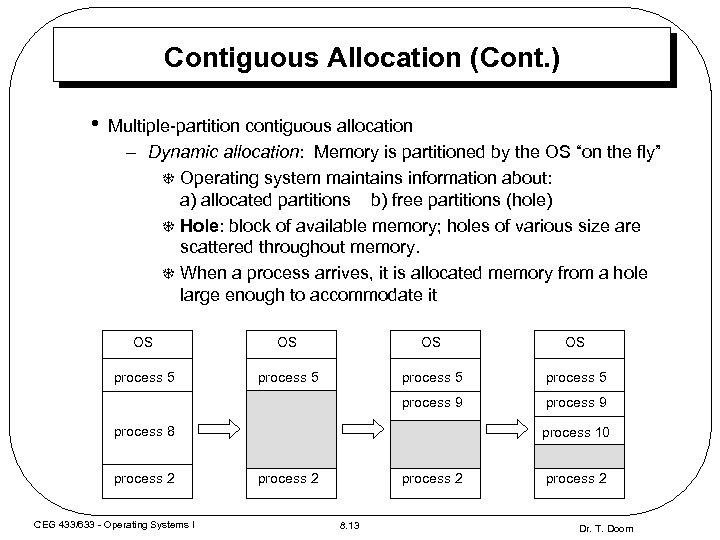 Contiguous Allocation (Cont. ) • Multiple-partition contiguous allocation – Dynamic allocation: Memory is partitioned
