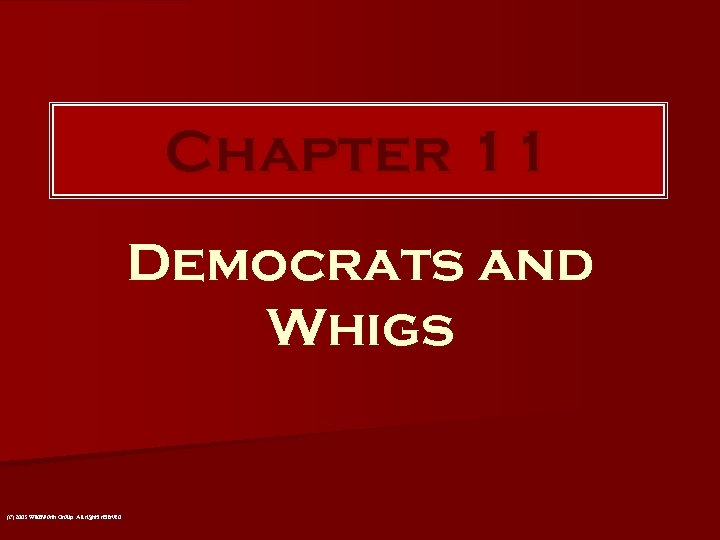 Chapter 11 Democrats and Whigs (c) 2003 Wadsworth Group All rights reserved