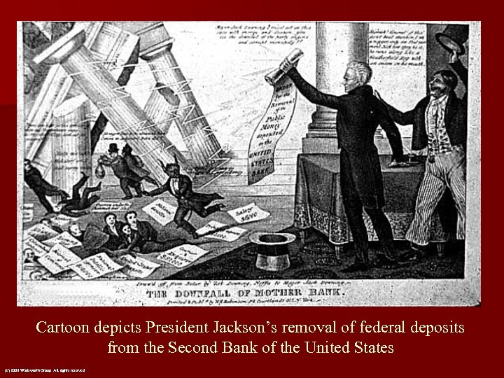 Cartoon depicts President Jackson's removal of federal deposits from the Second Bank of the