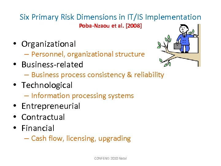 Six Primary Risk Dimensions in IT/IS Implementation Poba-Nzaou et al. [2008] • Organizational –