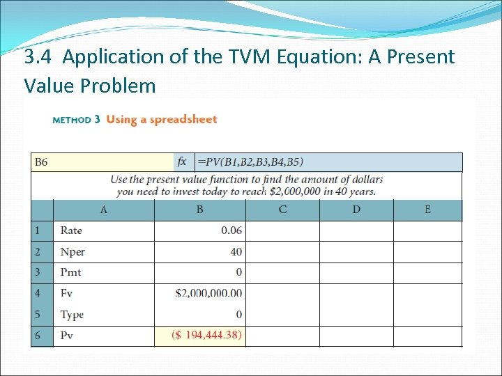 3. 4 Application of the TVM Equation: A Present Value Problem