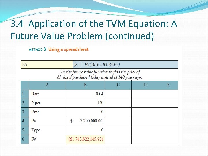 3. 4 Application of the TVM Equation: A Future Value Problem (continued)