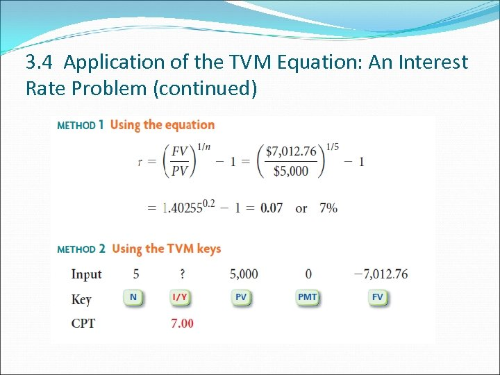 3. 4 Application of the TVM Equation: An Interest Rate Problem (continued)