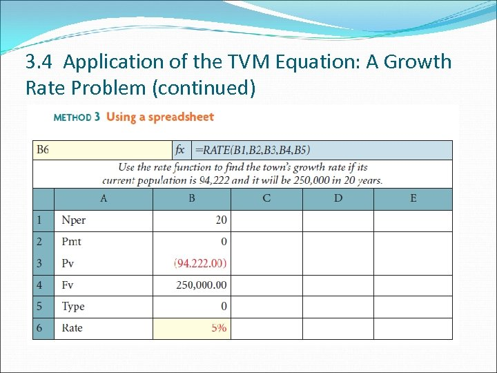 3. 4 Application of the TVM Equation: A Growth Rate Problem (continued)