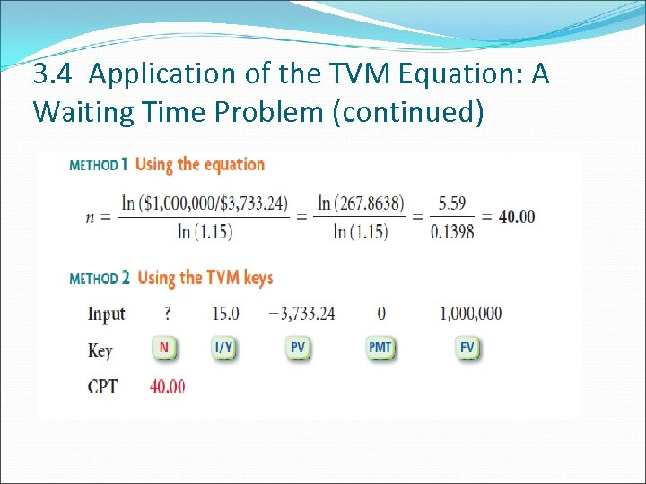 3. 4 Application of the TVM Equation: A Waiting Time Problem (continued)