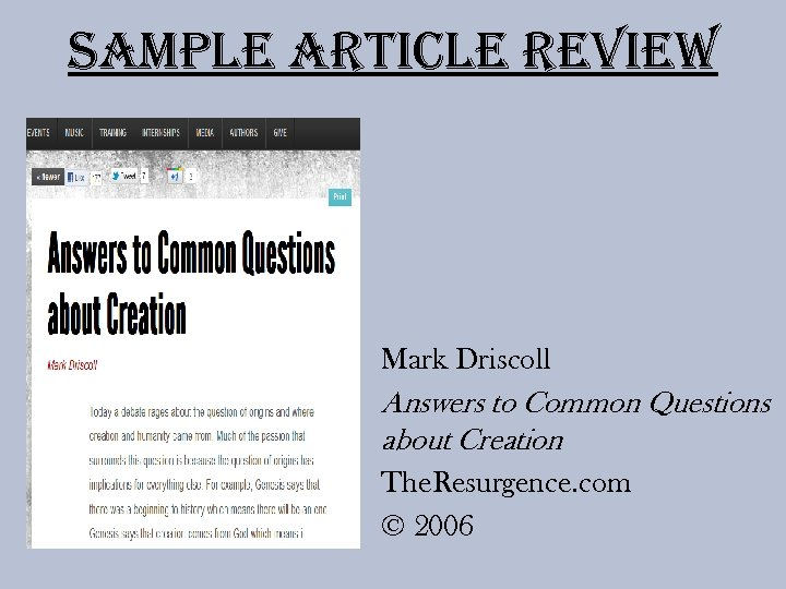 Sample article review Mark Driscoll Answers to Common Questions about Creation The. Resurgence. com