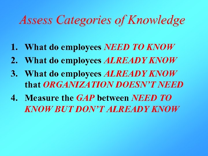 Assess Categories of Knowledge 1. What do employees NEED TO KNOW 2. What do