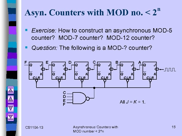 Asyn. Counters with MOD no. < 2 n § Exercise: How to construct an