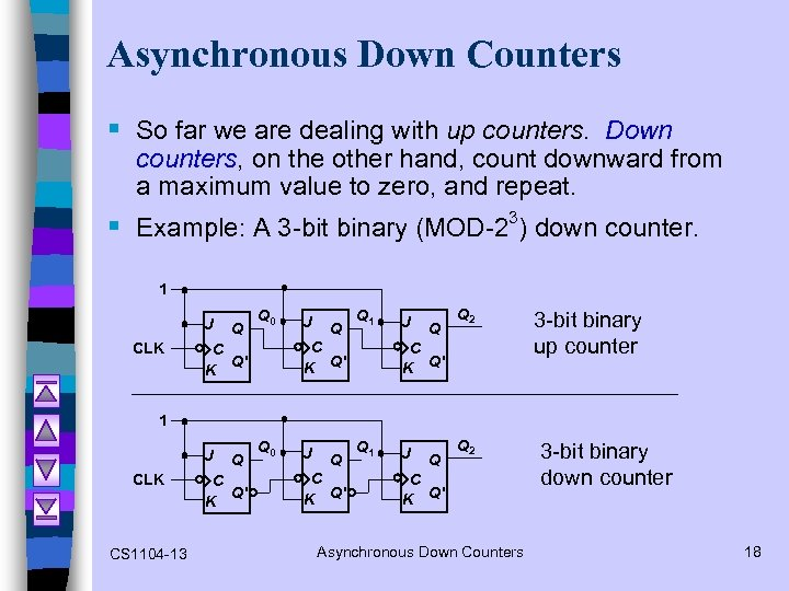 Asynchronous Down Counters § So far we are dealing with up counters. Down counters,