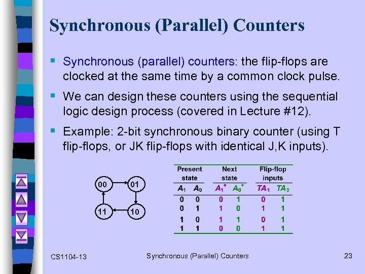 Synchronous (Parallel) Counters § Synchronous (parallel) counters: the flip-flops are clocked at the same