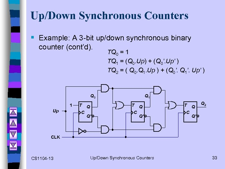 Up/Down Synchronous Counters § Example: A 3 -bit up/down synchronous binary counter (cont'd). TQ