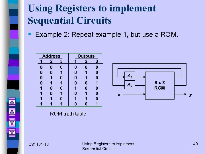 Using Registers to implement Sequential Circuits § Example 2: Repeat example 1, but use