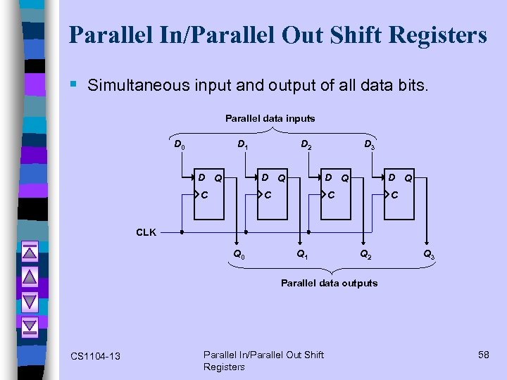 Parallel In/Parallel Out Shift Registers § Simultaneous input and output of all data bits.