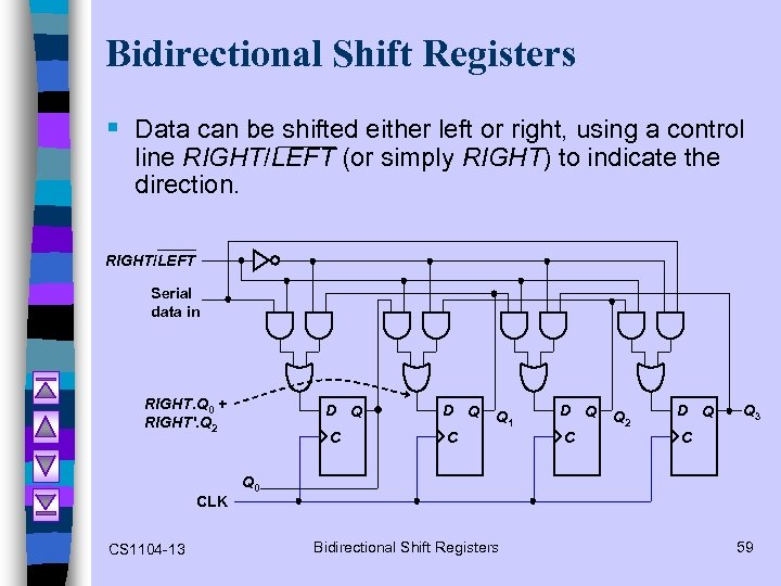 Bidirectional Shift Registers § Data can be shifted either left or right, using a