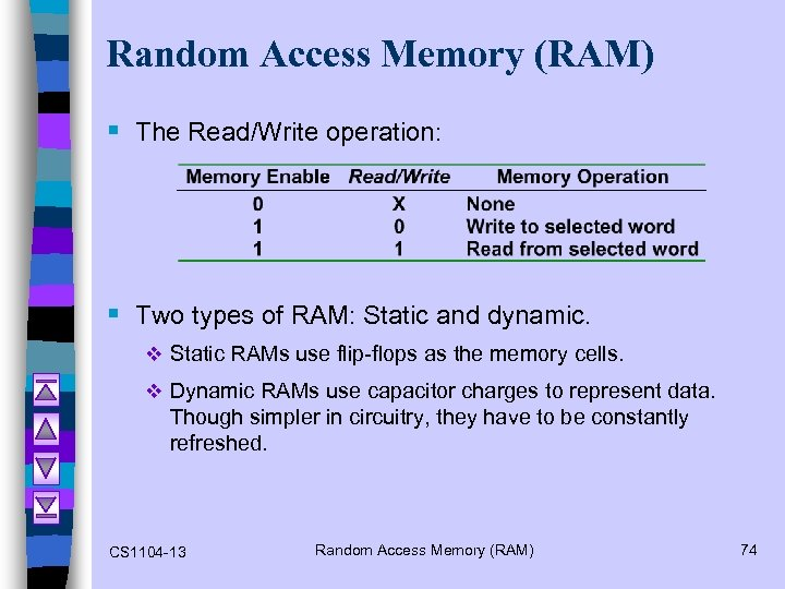 Random Access Memory (RAM) § The Read/Write operation: § Two types of RAM: Static