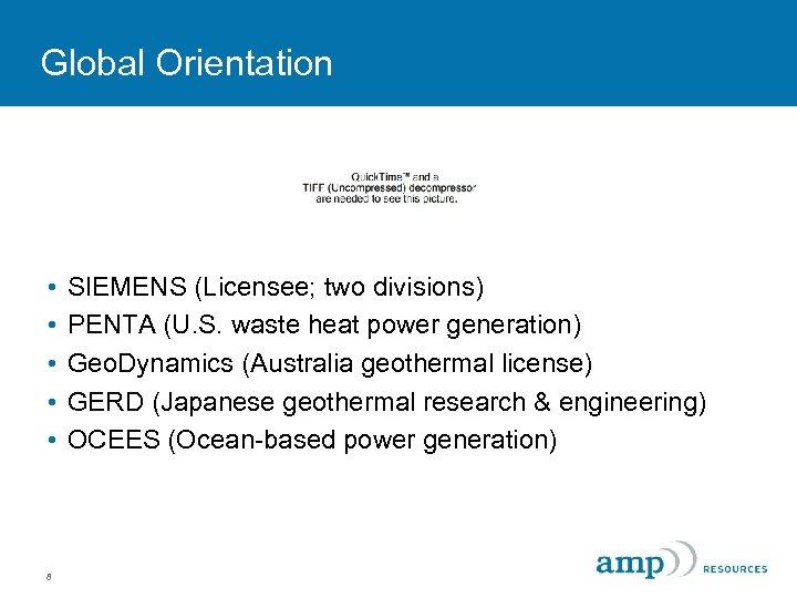 Global Orientation • • • 8 SIEMENS (Licensee; two divisions) PENTA (U. S. waste