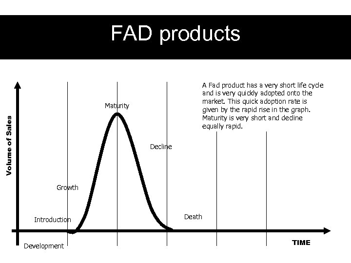 FAD products A Fad product has a very short life cycle and is very