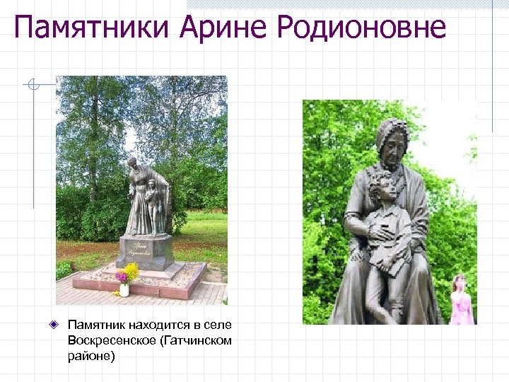 Памятники Арине Родионовне Памятник находится в селе Воскресенское (Гатчинском районе)