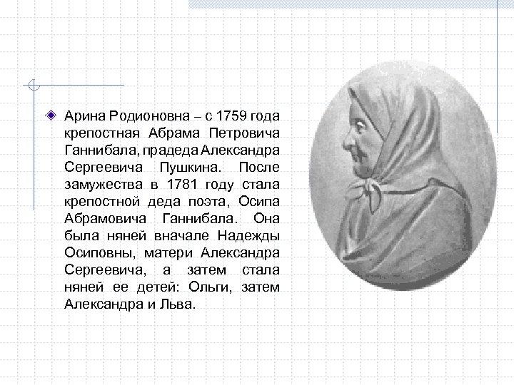 Арина Родионовна – с 1759 года крепостная Абрама Петровича Ганнибала, прадеда Александра Сергеевича Пушкина.