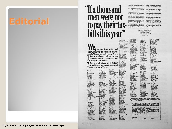 Editorial http: //www. nwtrcc. org/history/images/Writers-Editors-War-Tax-Protest-ad. jpg