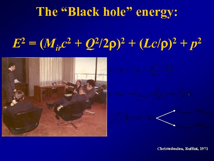 "The ""Black hole"" energy: E 2 = (Mirc 2 + Q 2/2 r)2 +"