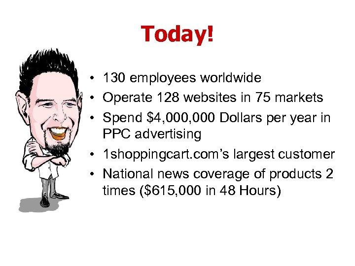 Today! • 130 employees worldwide • Operate 128 websites in 75 markets • Spend