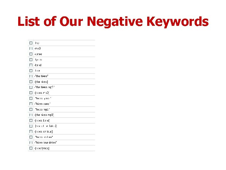 List of Our Negative Keywords