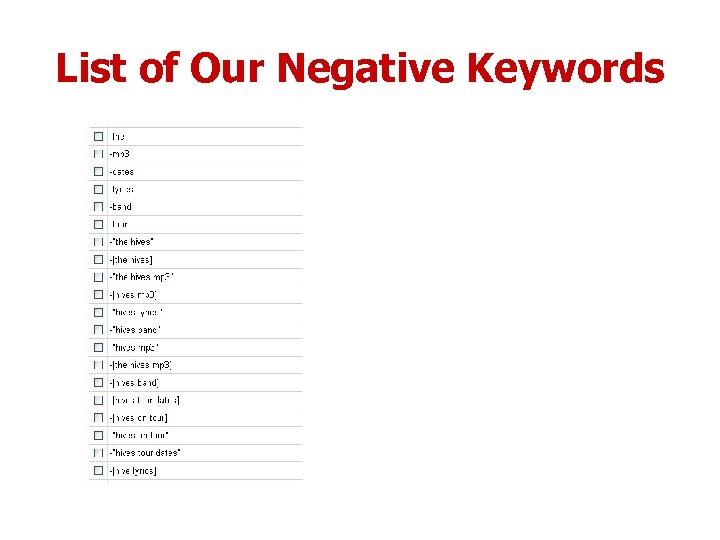List of Our Negative Keywords
