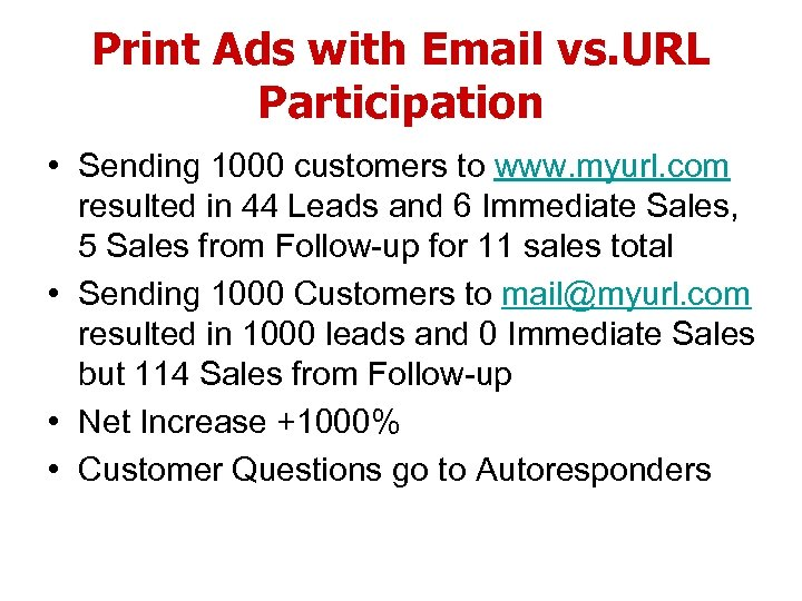 Print Ads with Email vs. URL Participation • Sending 1000 customers to www. myurl.