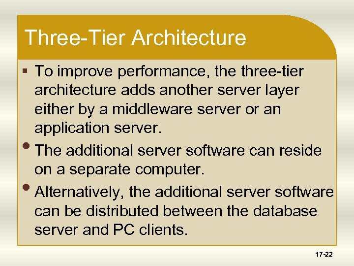 Three-Tier Architecture § To improve performance, the three-tier architecture adds another server layer either