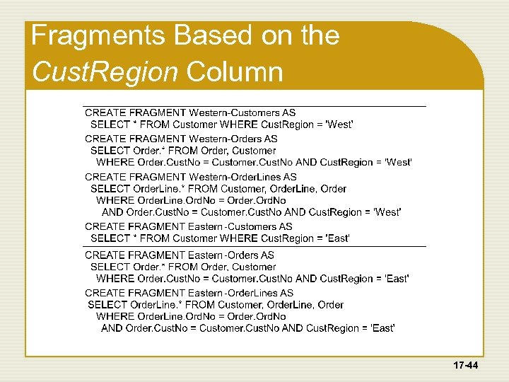 Fragments Based on the Cust. Region Column 17 -44