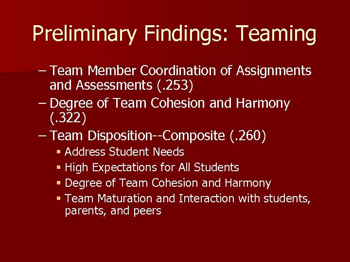 Preliminary Findings: Teaming – Team Member Coordination of Assignments and Assessments (. 253) –