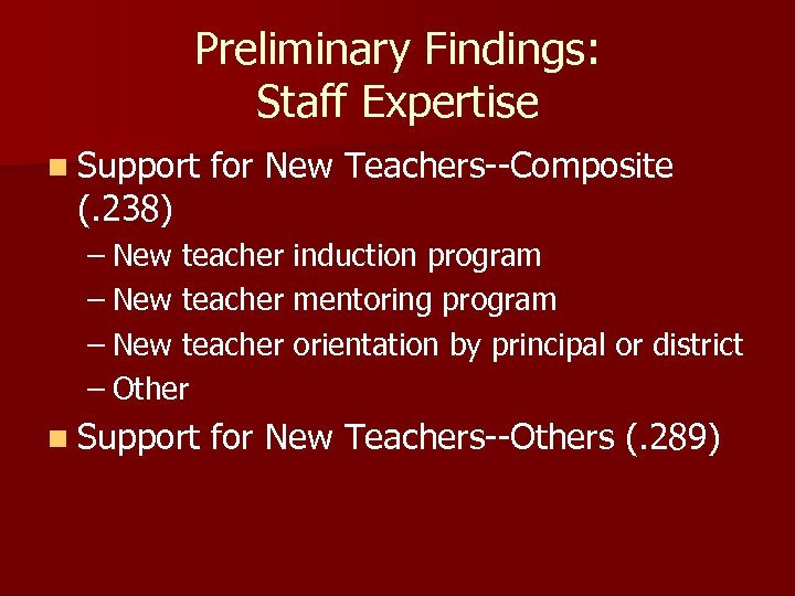 Preliminary Findings: Staff Expertise n Support (. 238) for New Teachers--Composite – New teacher