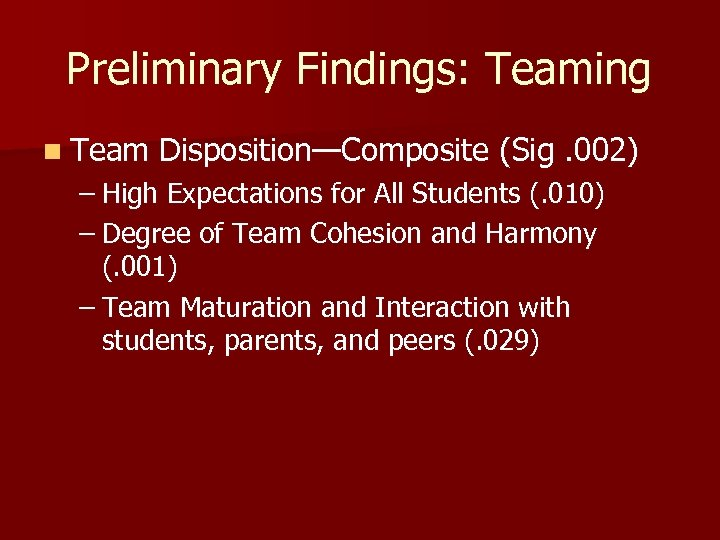 Preliminary Findings: Teaming n Team Disposition—Composite (Sig. 002) – High Expectations for All Students