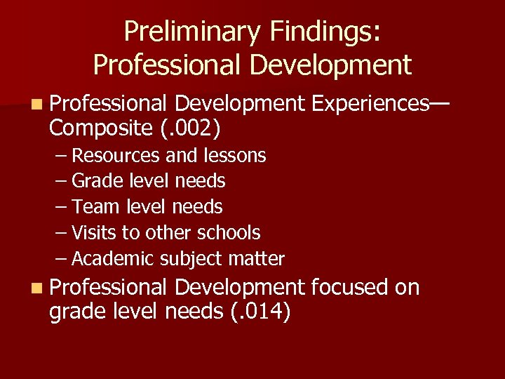 Preliminary Findings: Professional Development n Professional Development Experiences— Composite (. 002) – Resources and